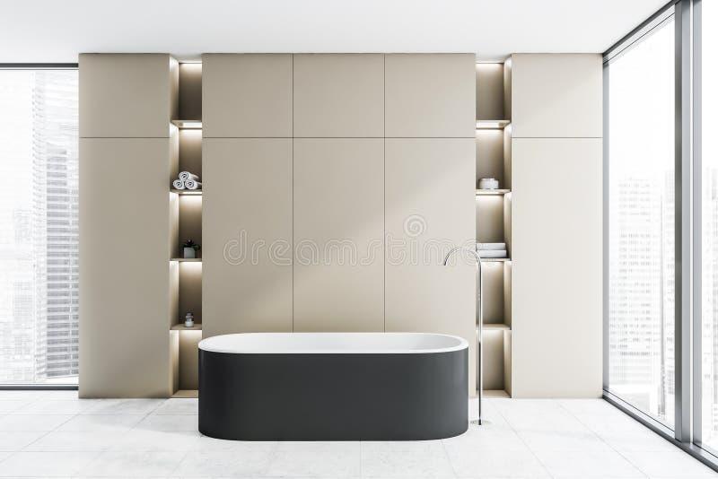 Бежевый bathroom просторной квартиры внутренний с ушатом иллюстрация вектора