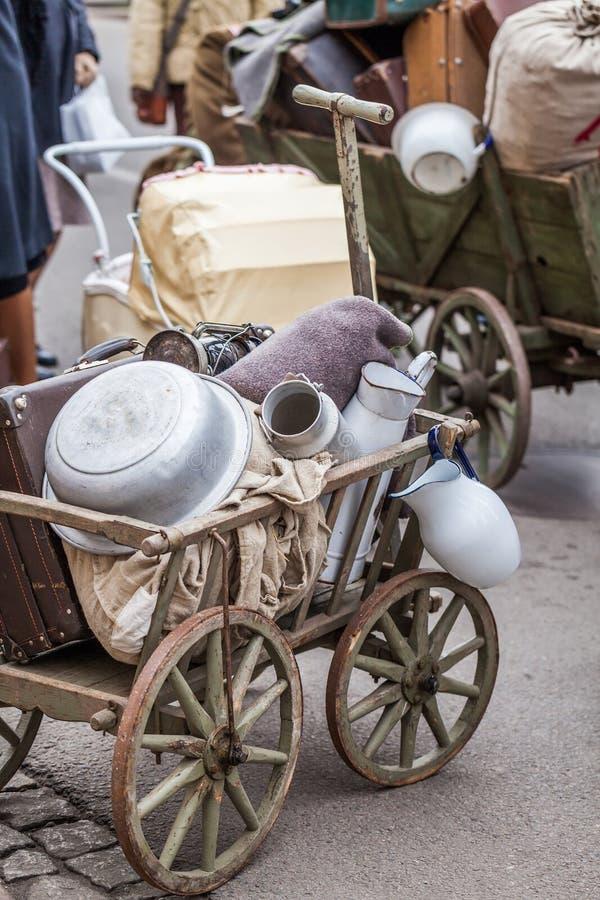 Беженцы багажа во время Второй Мировой Войны - Польши стоковые фото