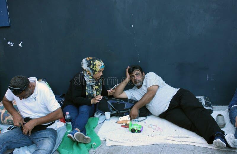 Беженцы в Будапеште, Венгрии стоковая фотография