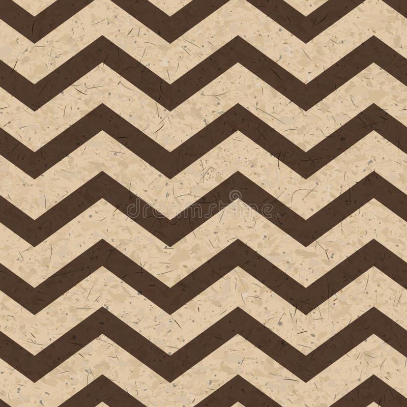 Беж и коричневый цвет рециркулировали картон с текстурой орнамента шеврона грубой, вектором иллюстрация штока
