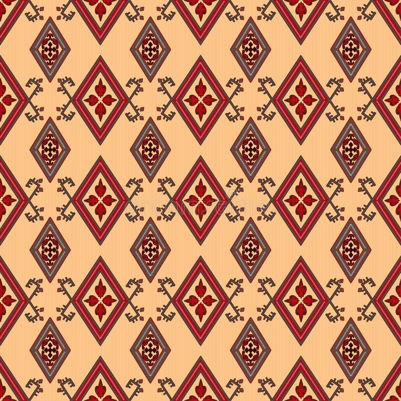 Беж картины абстрактного красного орнамента безшовный бесплатная иллюстрация