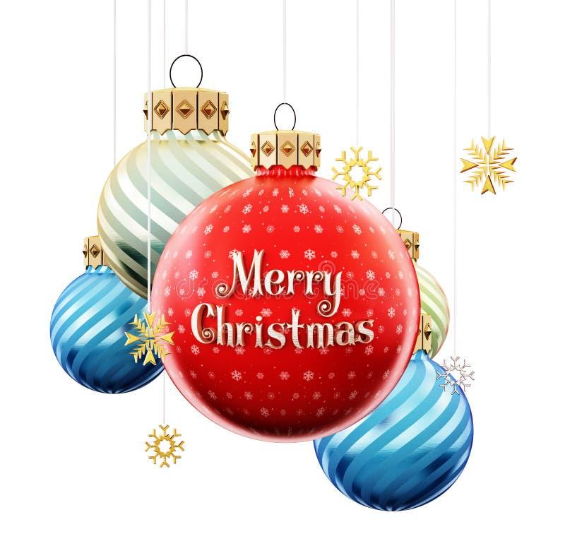 Безделушки рождества с текстом веселого рождества : иллюстрация штока