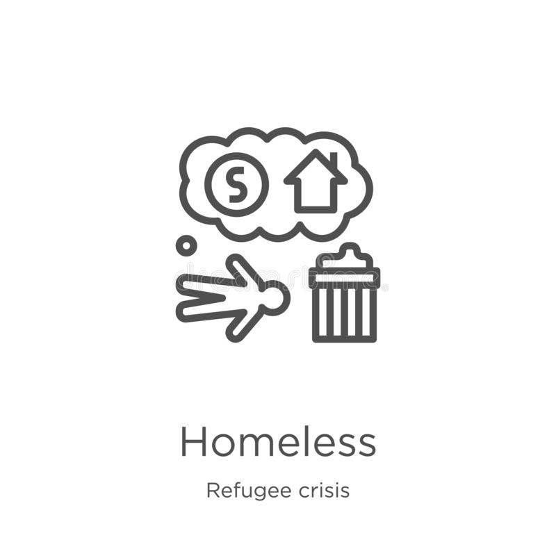 бездомный вектор значка от собрания кризиса беженца Тонкая линия бездомная иллюстрация вектора значка плана План, тонкая линия иллюстрация вектора