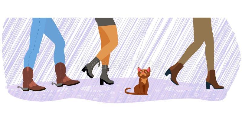 Бездомный кот между ногами бесплатная иллюстрация