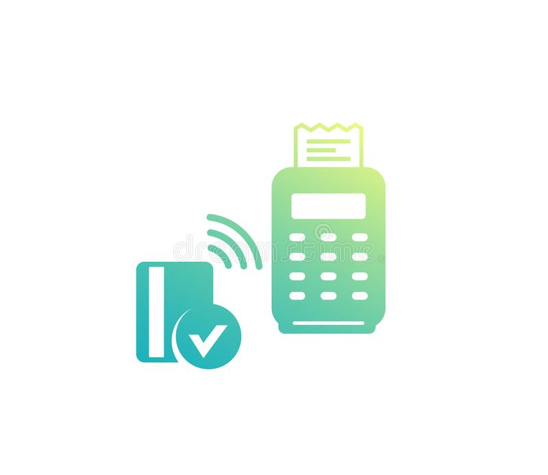 Безконтактная оплата с терминалом и картой pos иллюстрация штока