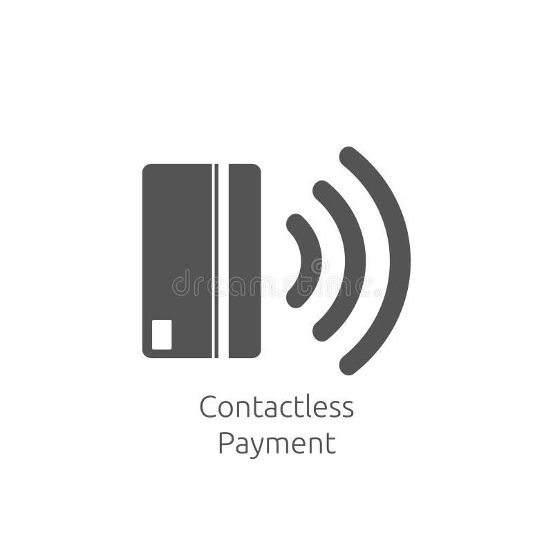 Безконтактный значок оплаты связь ( Близко-поля; NFC) значок концепции технологии карточки Выстучайте для того чтобы оплатить иллюстрация вектора