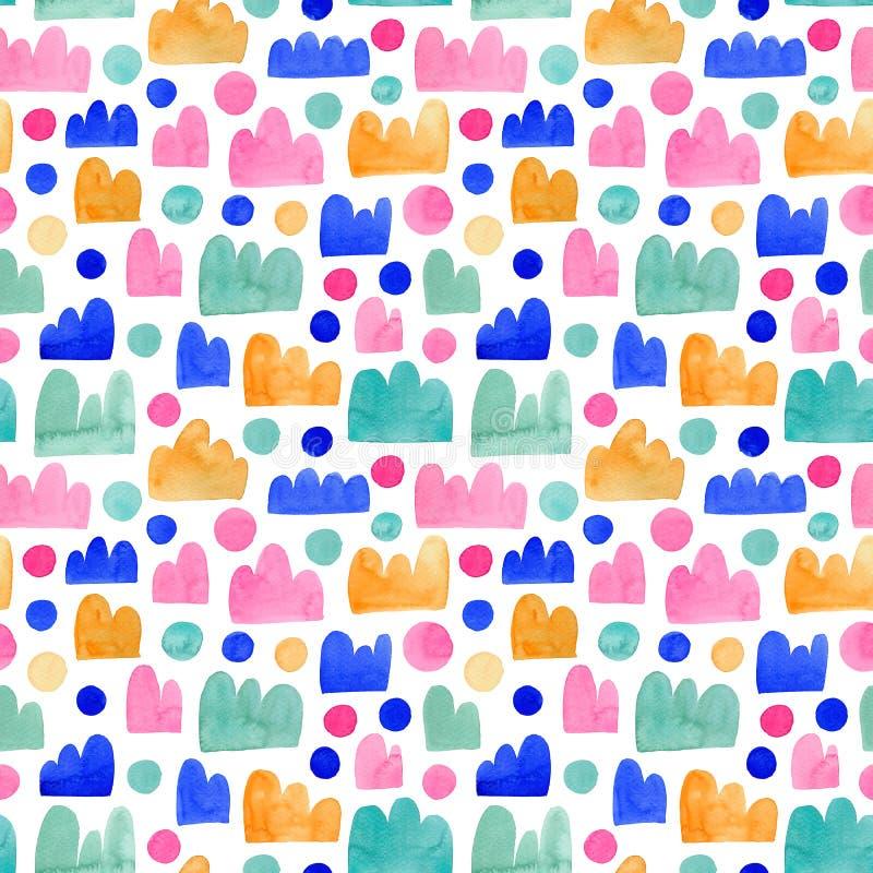 Безмолвная яркая цветная модель для детской Цветные элементы, имитирующие горы, облака или короны иллюстрация штока