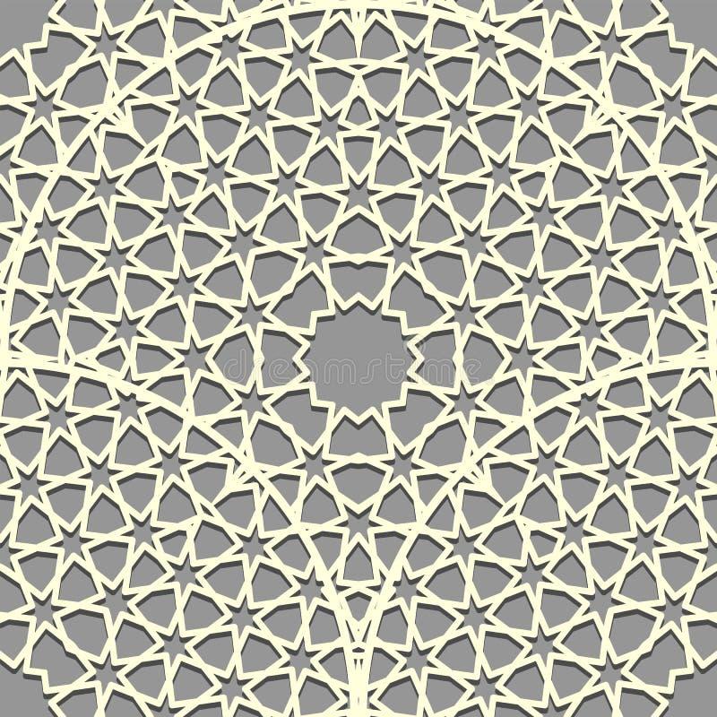 Безмолвные шестиконечники Восточно-симметрионный узор с мандалой Исламский фон Текстура арабской строки иллюстрация штока
