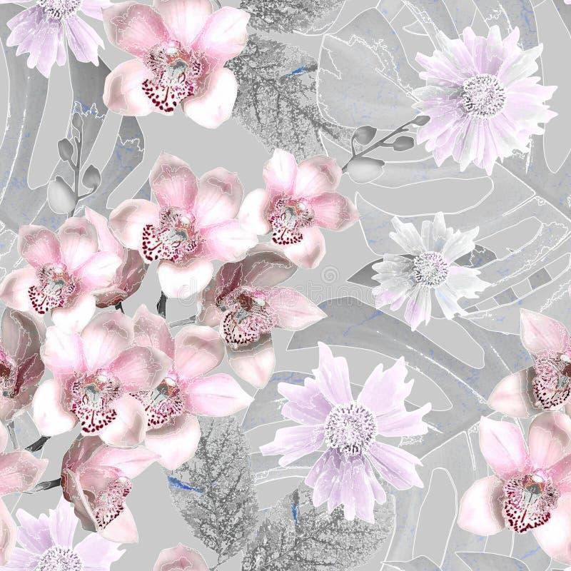 Безмолвный цветочный ретро-узор Розовые орхидеи на сером фоне иллюстрация штока