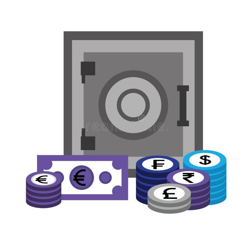 Безопасная валюта монеток банкноты денег коробки бесплатная иллюстрация