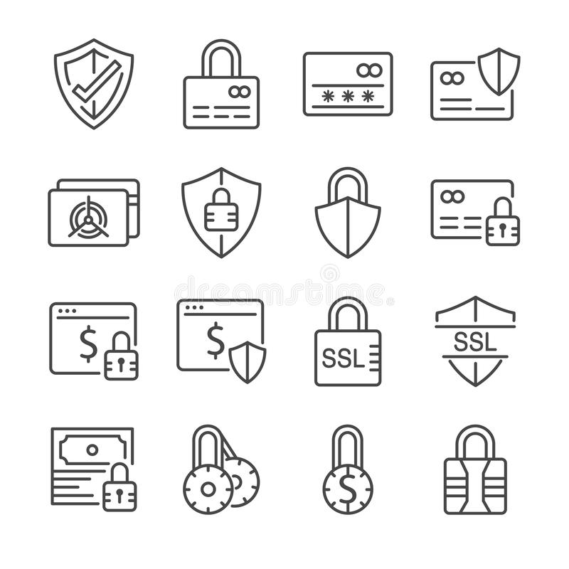 Безопасная линия комплект оплаты значка Включил значки как кредит cad, сейф, защита, ssl, шифрование и больше иллюстрация вектора