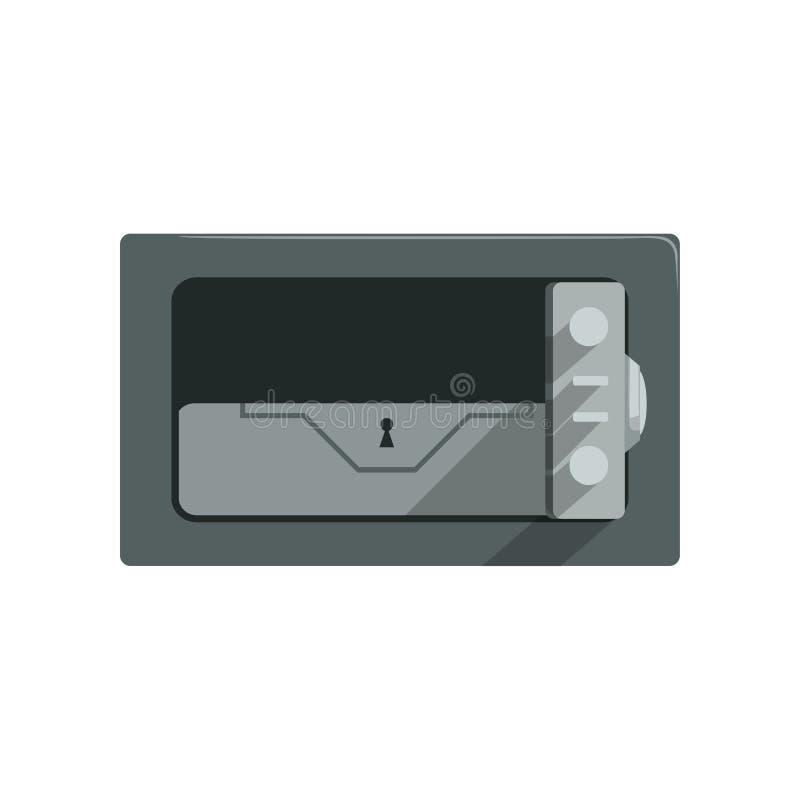 Безопасная стальная закрытая коробка, иллюстрация вектора концепции предохранения от наличных денег коробки дела безопасности без иллюстрация вектора