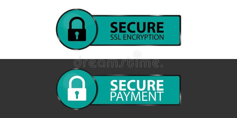 Безопасное шифрование SSL и безопасные кнопки с Padlock - иллюстрации оплаты вектора - изолированным на Monochrome предпосылке иллюстрация штока