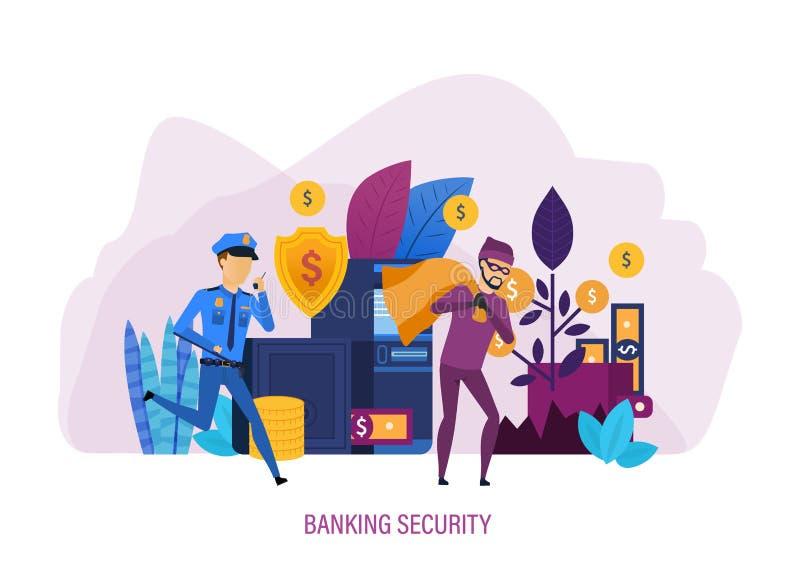 Безопасность банка Достигните системы защиты, безопасных финансовых активов, безопасности оплаты иллюстрация штока