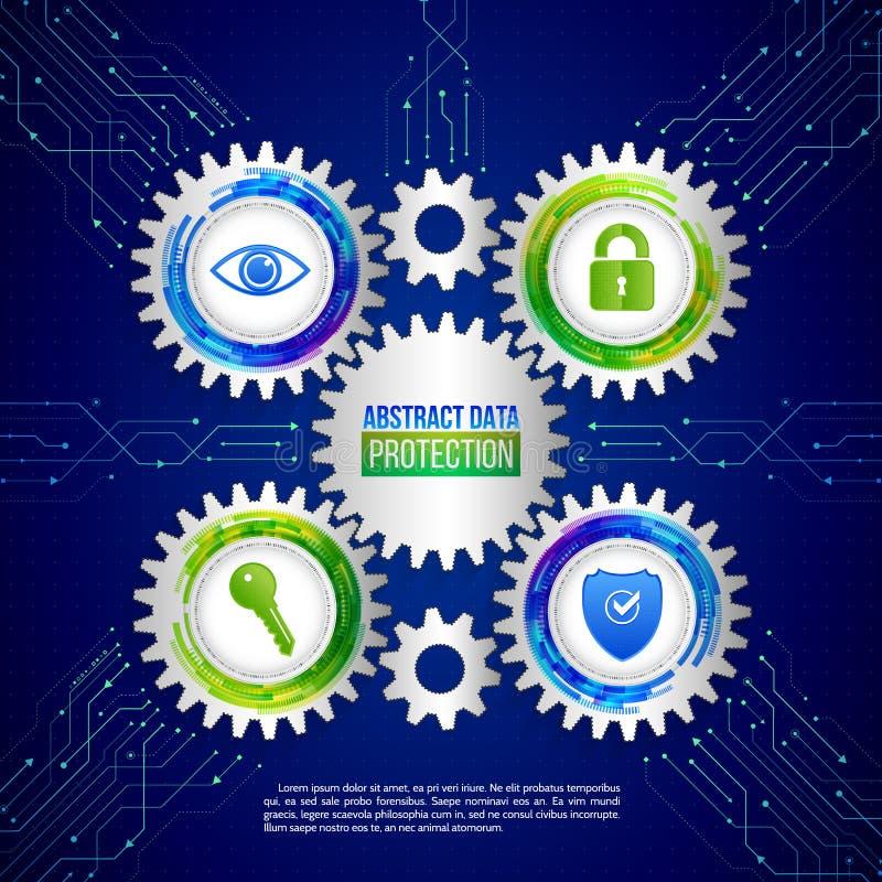Безопасность глобальной вычислительной сети на предпосылке сини цепи цифрово иллюстрация штока