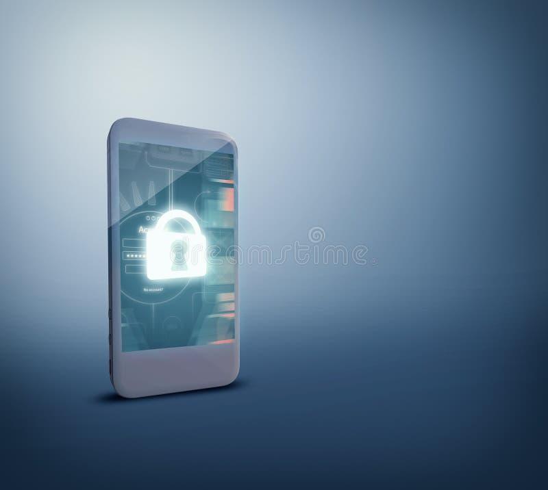 Безопасность для безопасности от мобильного телефона иллюстрация штока