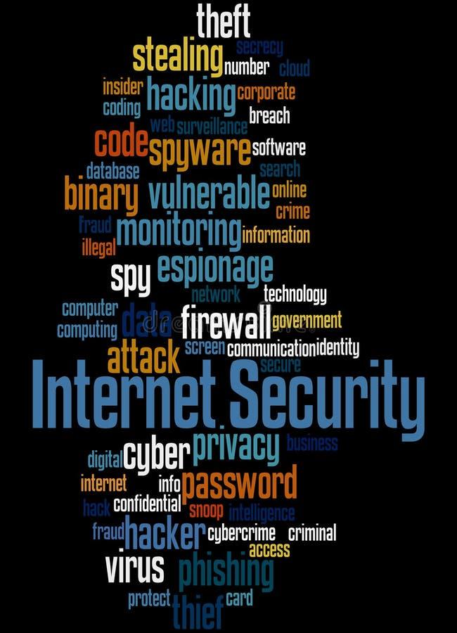 Безопасность интернета, концепция 3 облака слова иллюстрация штока