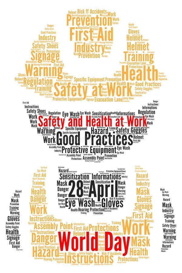 Безопасность и здоровье дня мира на работе иллюстрация вектора