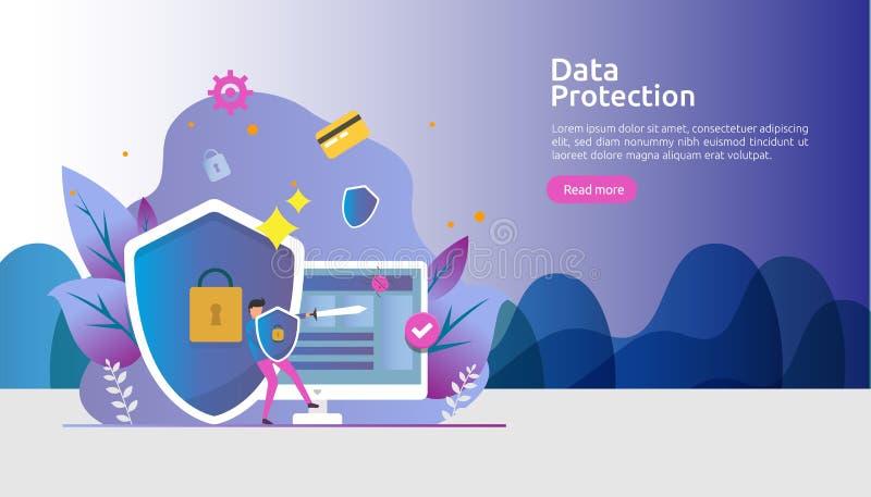 Безопасность и конфиденциальная защита данных Безопасность интернета VPN Концепция неприкосновенности личной жизни шифрования дви бесплатная иллюстрация