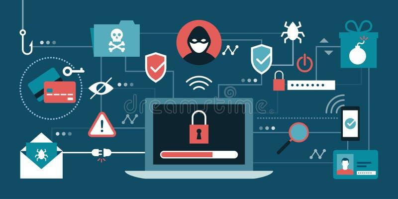 Безопасность и хакеры кибер иллюстрация вектора