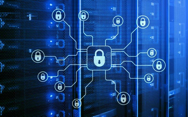 Безопасность кибер, защита данных, уединение информации Интернет и концепция технологии иллюстрация штока