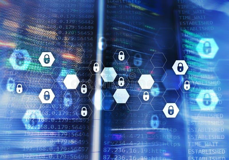 Безопасность кибер, защита данных, уединение информации Интернет и концепция технологии бесплатная иллюстрация