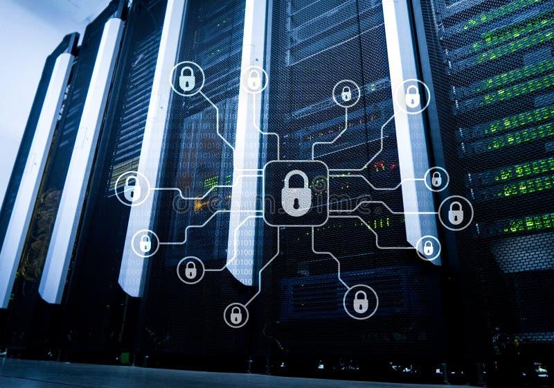 Безопасность кибер, защита данных, уединение информации Интернет и концепция технологии стоковое фото