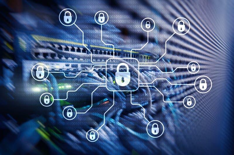 Безопасность кибер, защита данных, уединение информации Интернет и концепция технологии иллюстрация вектора