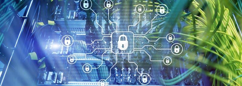 Безопасность кибер, защита данных, уединение информации Интернет и концепция технологии стоковое изображение rf