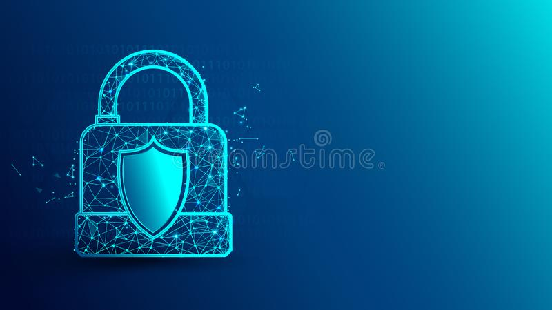 Безопасность кибер и padlock значок от линий, треугольников и дизайна стиля частицы иллюстрация вектора