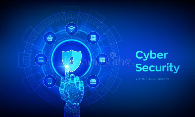 Безопасность кибер Концепция дела защиты данных на виртуальном экране Экран защищает значок Уединение и безопасность интернета Ан иллюстрация штока