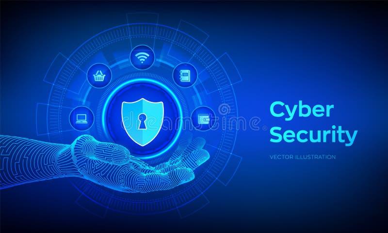 Безопасность кибер Концепция дела защиты данных на виртуальном экране Экран защищает значок в робототехнической руке Интерфейс ан иллюстрация вектора