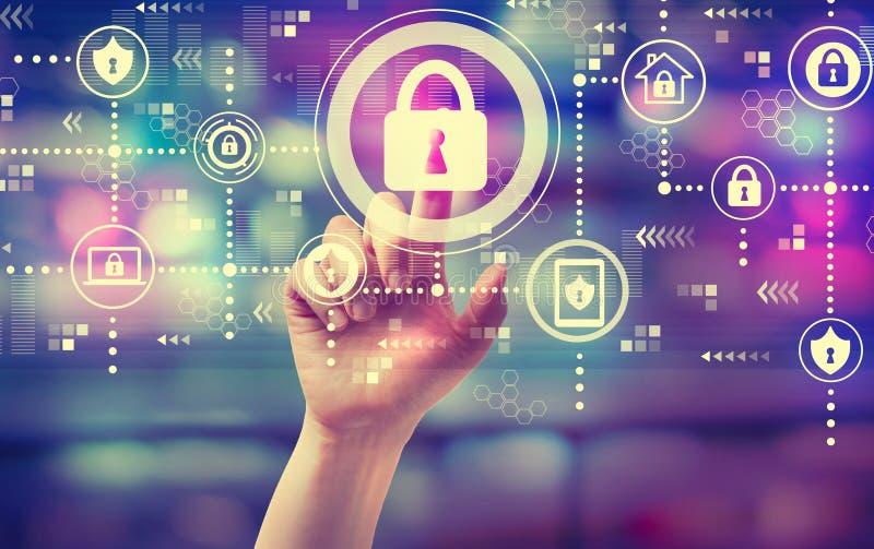 Безопасность кибер с рукой стоковые изображения rf