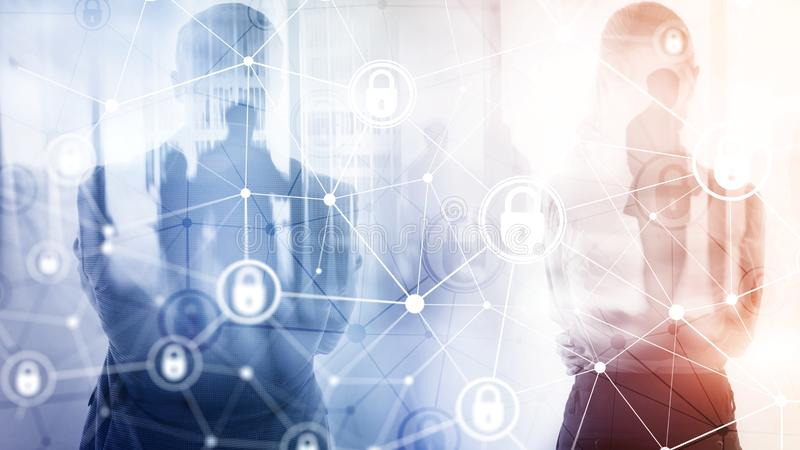Безопасность кибер, уединение информации, концепция защиты данных на современной предпосылке комнаты сервера Интернет и цифровое стоковое изображение rf