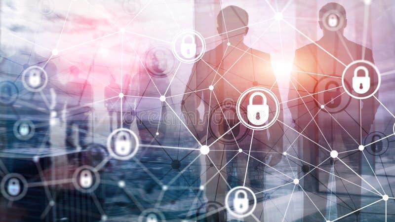 Безопасность кибер, уединение информации, концепция защиты данных на современной предпосылке комнаты сервера Интернет и цифровое иллюстрация штока