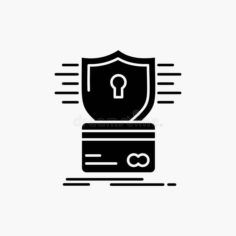безопасность, кредитная карточка, карта, рубя, значок глифа мотыги r иллюстрация штока