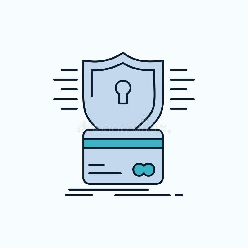 безопасность, кредитная карточка, карта, рубя, значок мотыги плоский r r иллюстрация вектора