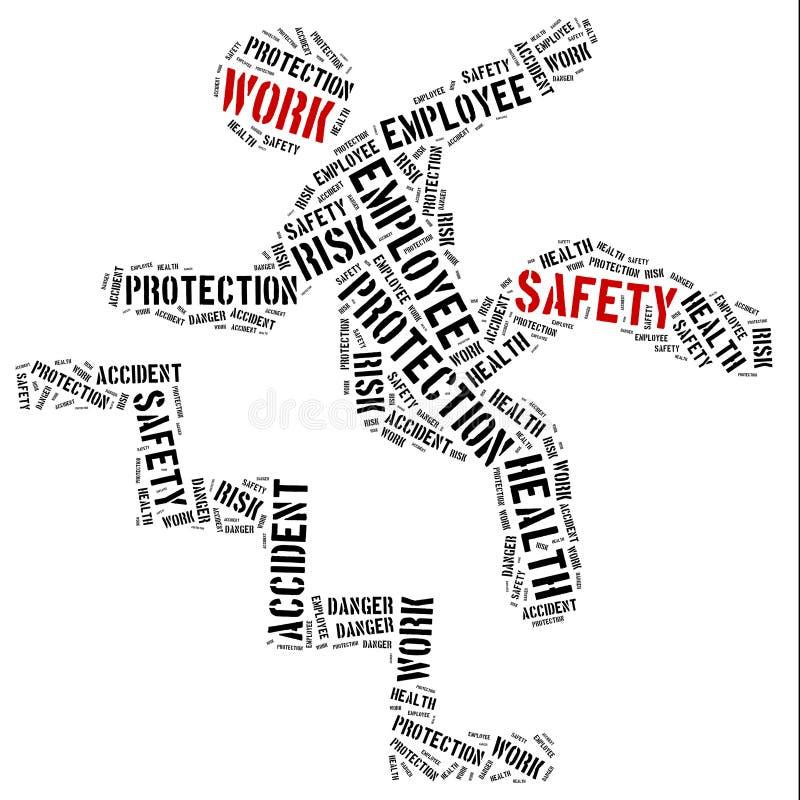 Безопасность на концепции работы Иллюстрация облака слова иллюстрация штока