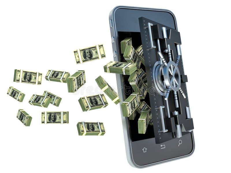 Безопасность передвижной концепции банка он-лайн компенсация обеспеченная иллюстрация штока