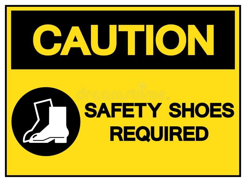 Безопасность предосторежения обувает необходимый знак символа, иллюстрацию вектора, изолированную на белом ярлыке предпосылки EPS иллюстрация штока