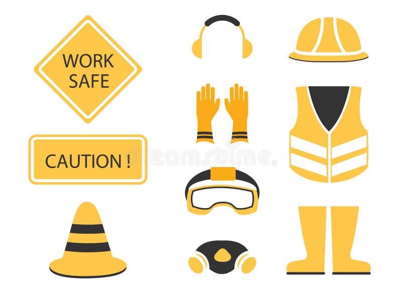 Безопасность прежде всего установленное и под символом конструкции иллюстрация штока