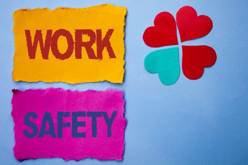Безопасность работы показа знака текста Схематический Safeness обеспечения предохранения от регулировок безопасностью предостореж стоковые изображения