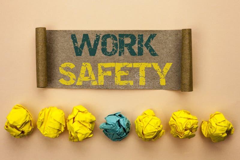Безопасность работы показа примечания сочинительства Safeness обеспечения предохранения от регулировок безопасностью предостореже стоковая фотография