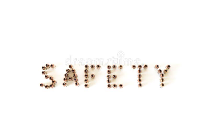 Безопасность сказала по буквам вне при пули изолированные на белизне стоковая фотография