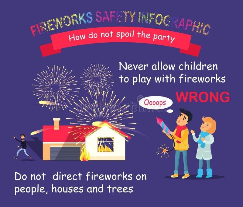 Безопасность фейерверков infographic Дети с Ракетой иллюстрация штока