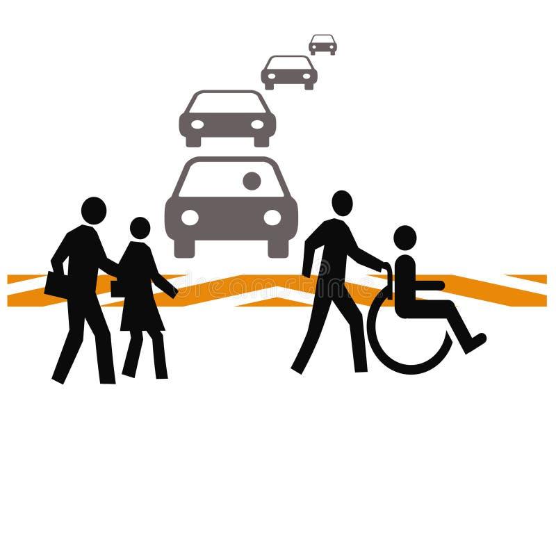 безопасность crosswalk иллюстрация вектора