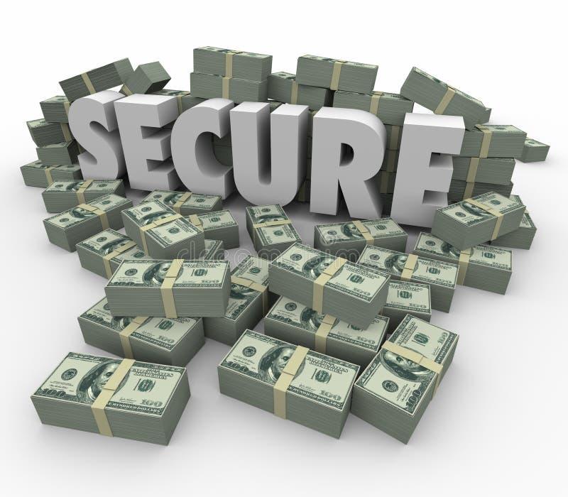 Безопасные наличные деньги денег слова 3d складывают финансовые сбережения безопасные бесплатная иллюстрация