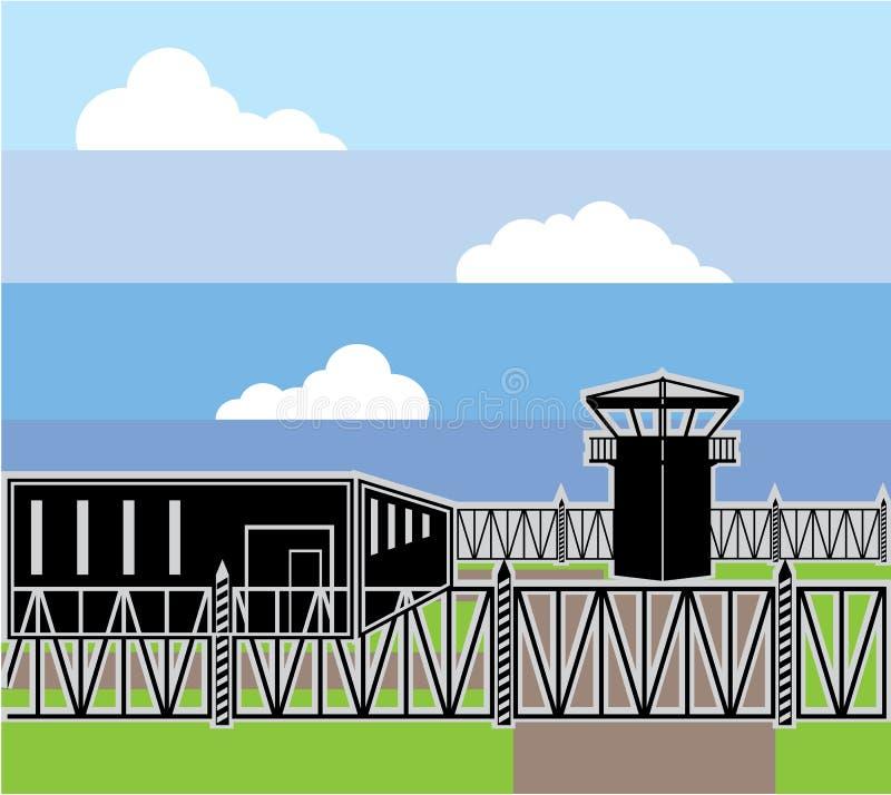 Безопасный лагерь для пленных объекта иллюстрация вектора