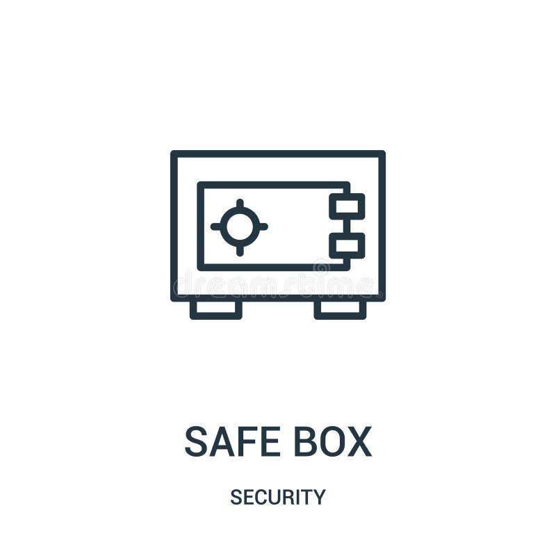 безопасный вектор значка коробки от собрания безопасностью Тонкая линия безопасная иллюстрация вектора значка плана коробки r иллюстрация вектора