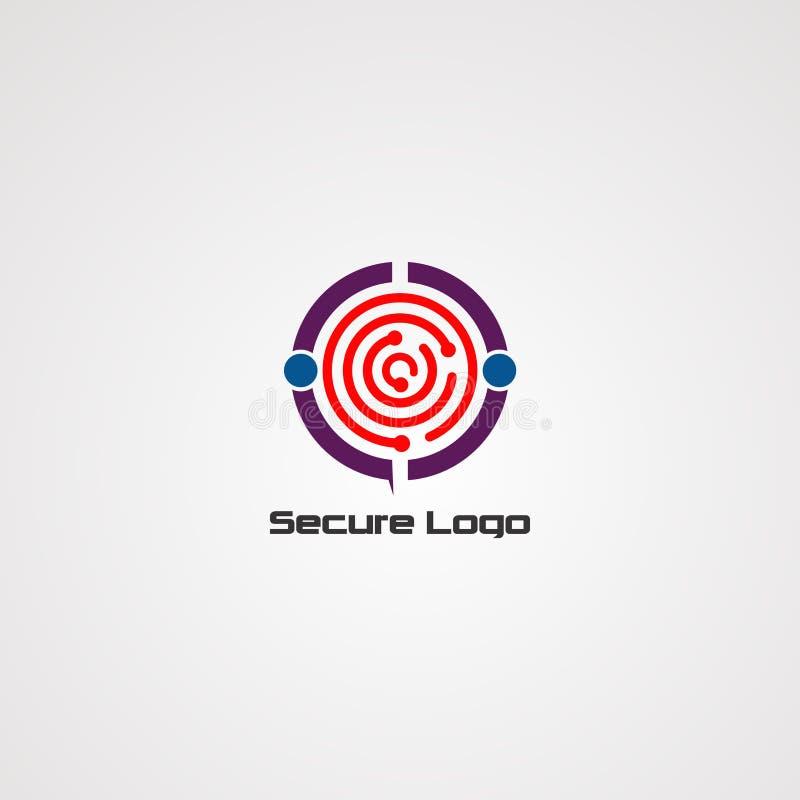 Безопасный вектор, значок, элемент, и шаблон логотипа для компании бесплатная иллюстрация